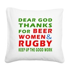Beer Women and Rugby Square Canvas Pillow