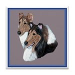 Smooth and Rough Collie Tile Coaster