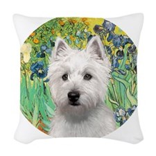 J-ORN-Irises-Westie-P Woven Throw Pillow