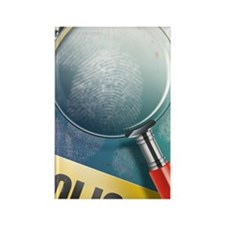 Police magnifying glass over fing Rectangle Magnet