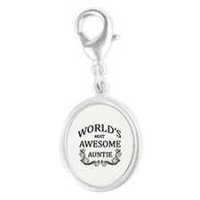 World's Most Awesome Auntie Silver Oval Charm