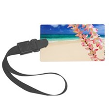 Beach with flowers in foreground Luggage Tag