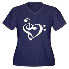 Unique Music Women's Plus Size V-Neck Dark T-Shirt