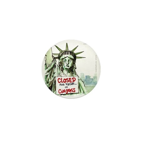 Lady Liberty Closed 4 Congress Mini Button