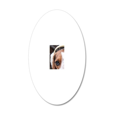Hound wearing earmuffs 20x12 Oval Wall Decal