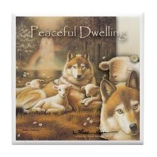"""Peaceful Dwelling"" Art Wolf & Lamb Tile Coaster"