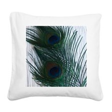 Peacock with White Square Canvas Pillow