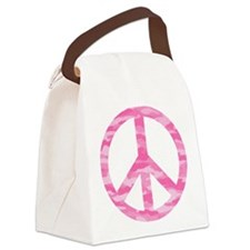 Pink Camo Peace Logo Canvas Lunch Bag