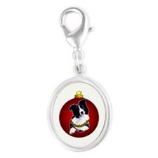 border collie Silver Oval Charm
