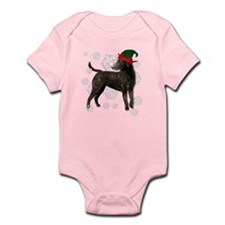 Curly Coated Retriever with elf hat Infant Bodysui