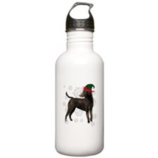 Curly Coated Retriever with elf hat Water Bottle