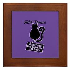 Cat Lady Purple Framed Tile
