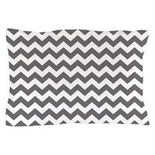 Slate and White Chevrons Pillow Case