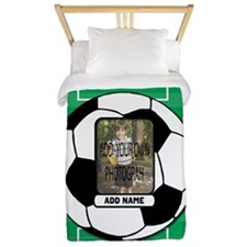 Photo and Name personalized soccer ball Twin Duvet
