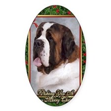 Saint Bernard Dog Christmas Stickers