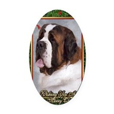 Saint Bernard Dog Christmas Oval Car Magnet