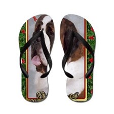 Saint Bernard Dog Christmas Flip Flops