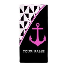 Stylish Pink Anchor Monogram Beach Towel