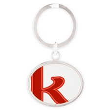 k-red Oval Keychain
