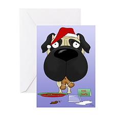 Pug Santa's Cookies Greeting Card