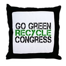 Go Green Recycle Congress Throw Pillow