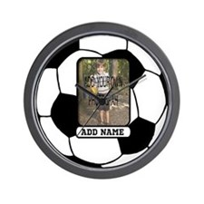 Photo and Name personalized soccer ball Wall Clock