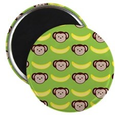 Monkeys and Bananas on Green Magnet