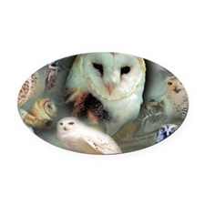 Happy Owls Oval Car Magnet