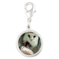 Happy Owls Silver Round Charm
