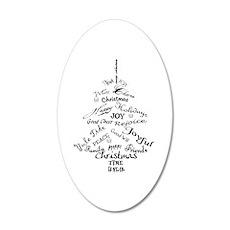 Christmas Word Tree 20x12 Oval Wall Decal
