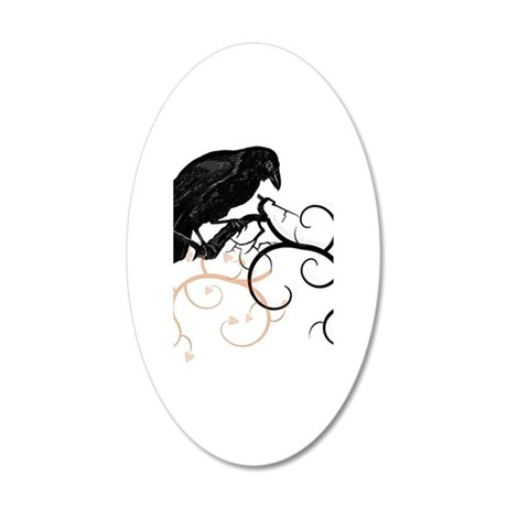 Black Raven Swirl Branches 20x12 Oval Wall Decal
