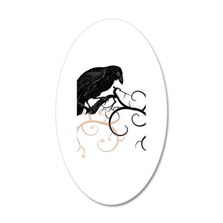Black Raven Swirl Branches 35x21 Oval Wall Decal