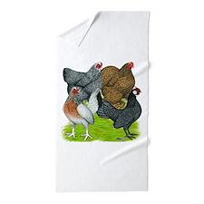 Bantams Assorted Hens Beach Towel