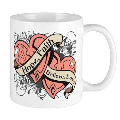 Uterine Cancer Hope Hearts Mug