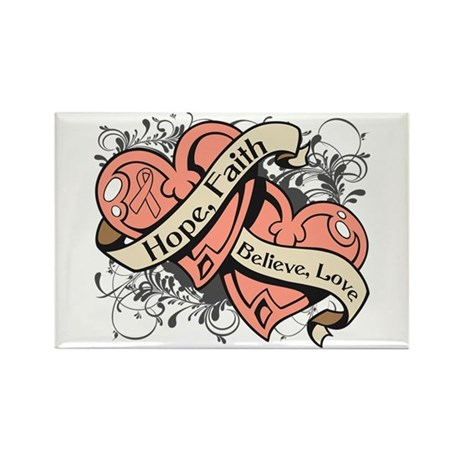 Uterine Cancer Hope Hearts Rectangle Magnet