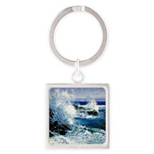 The Sea View of Cliffs-Guy Rose pa Square Keychain