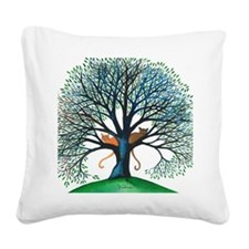 Corozal Stray Cats in Tree by Square Canvas Pillow