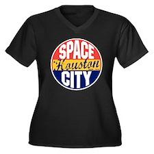 Houston Vint Women's Plus Size Dark V-Neck T-Shirt