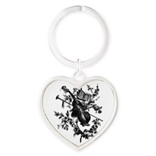 Cello & Roses Heart Keychain