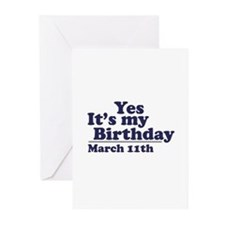 March 11 Birthday Greeting Cards (Pk of 10)