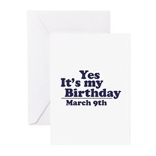 March 9 Birthday Greeting Cards (Pk of 10)