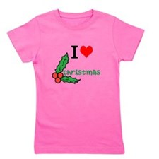 I heart, love Christmas,green holly leaves and red
