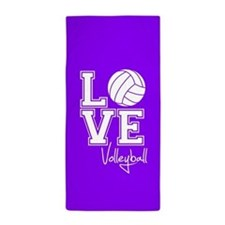 Love Volleyball, Violet Purple Beach Towel