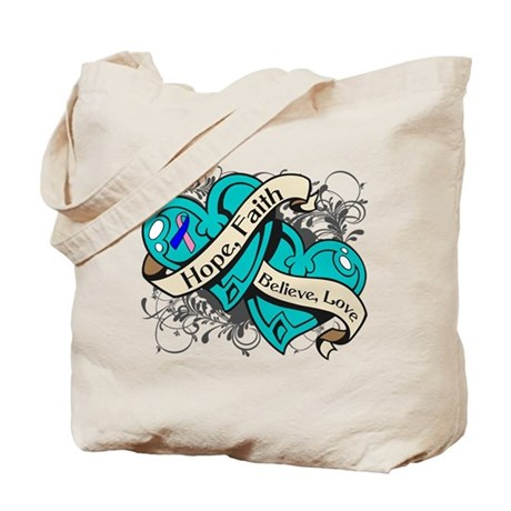 Thyroid Cancer Hope Hearts Tote Bag