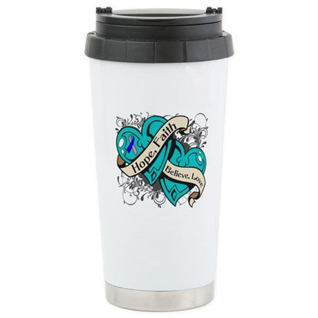 Thyroid Cancer Hope Hearts Ceramic Travel Mug