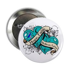 "Thyroid Cancer Hope Hearts 2.25"" Button"