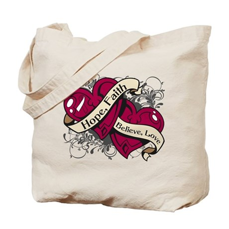 Throat Cancer Hope Hearts Shirts Tote Bag