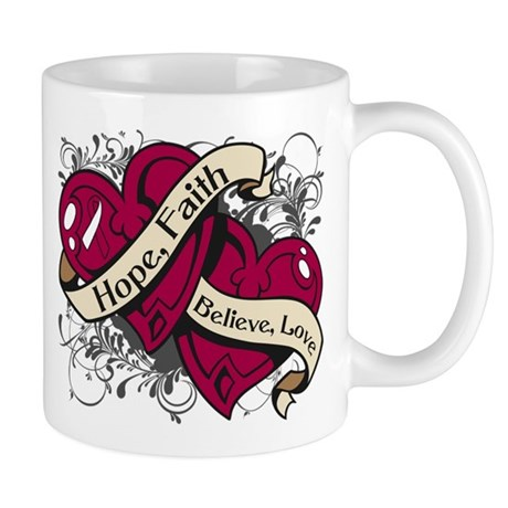 Throat Cancer Hope Hearts Shirts Mug