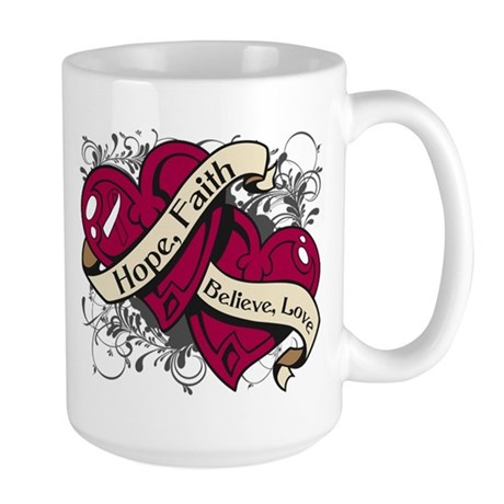 Throat Cancer Hope Hearts Shirts Large Mug