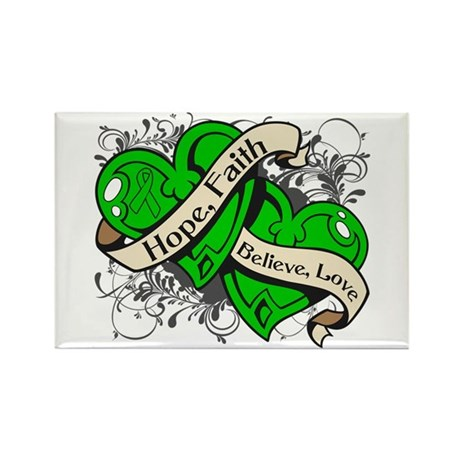 TBI Hope Faith Dual Hearts Rectangle Magnet